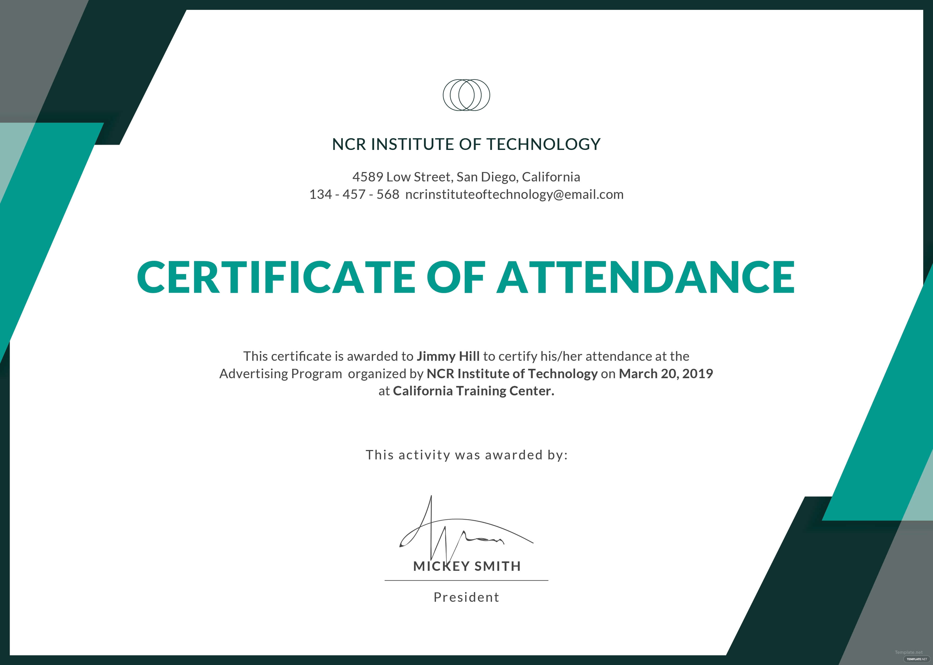 Certificate Templates: Free Conference Attendance Within Certificate Of Attendance Conference Template