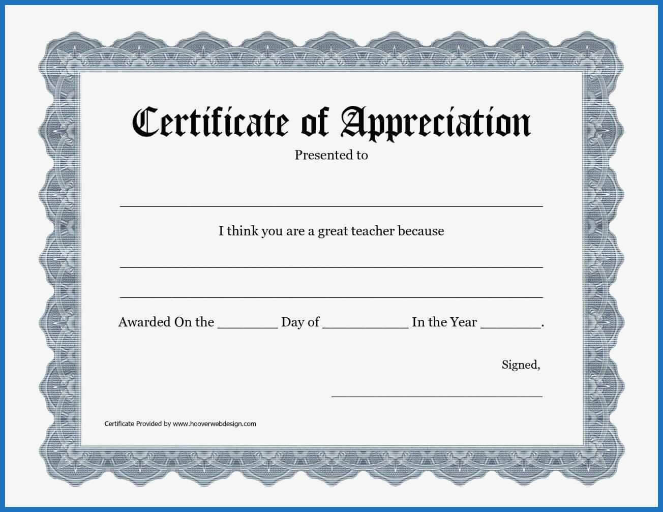 Certificate Templates: Free Templates For Certificate Of in In Appreciation Certificate Templates