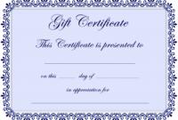Certificate Templates | Gift Certificate Template Free – Pdf inside Homemade Gift Certificate Template