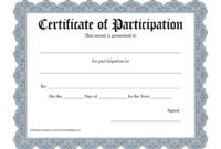 Certificate Templates: Workshop Participation Certificate regarding Certificate Of Participation In Workshop Template
