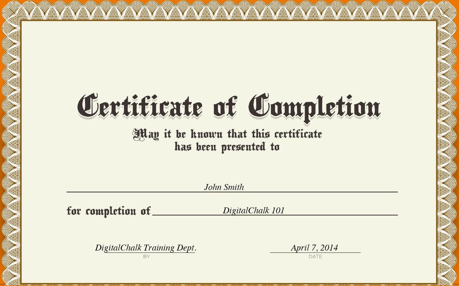 Certificates. Best Completion Certificate Template Designs With Regard To Certification Of Completion Template