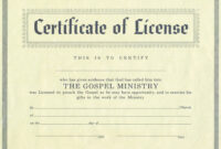 Certificates: Captivating Minister License Certificate pertaining to Certificate Of License Template