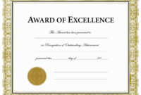 Certificates. Charming Award Of Excellence Certificate regarding Award Of Excellence Certificate Template