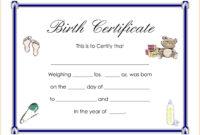 Certificates: Enchanting Birth Certificate Templates Designs regarding Baby Doll Birth Certificate Template