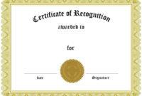 Certificates. Inspiring Recognition Certificate Template regarding Template For Recognition Certificate