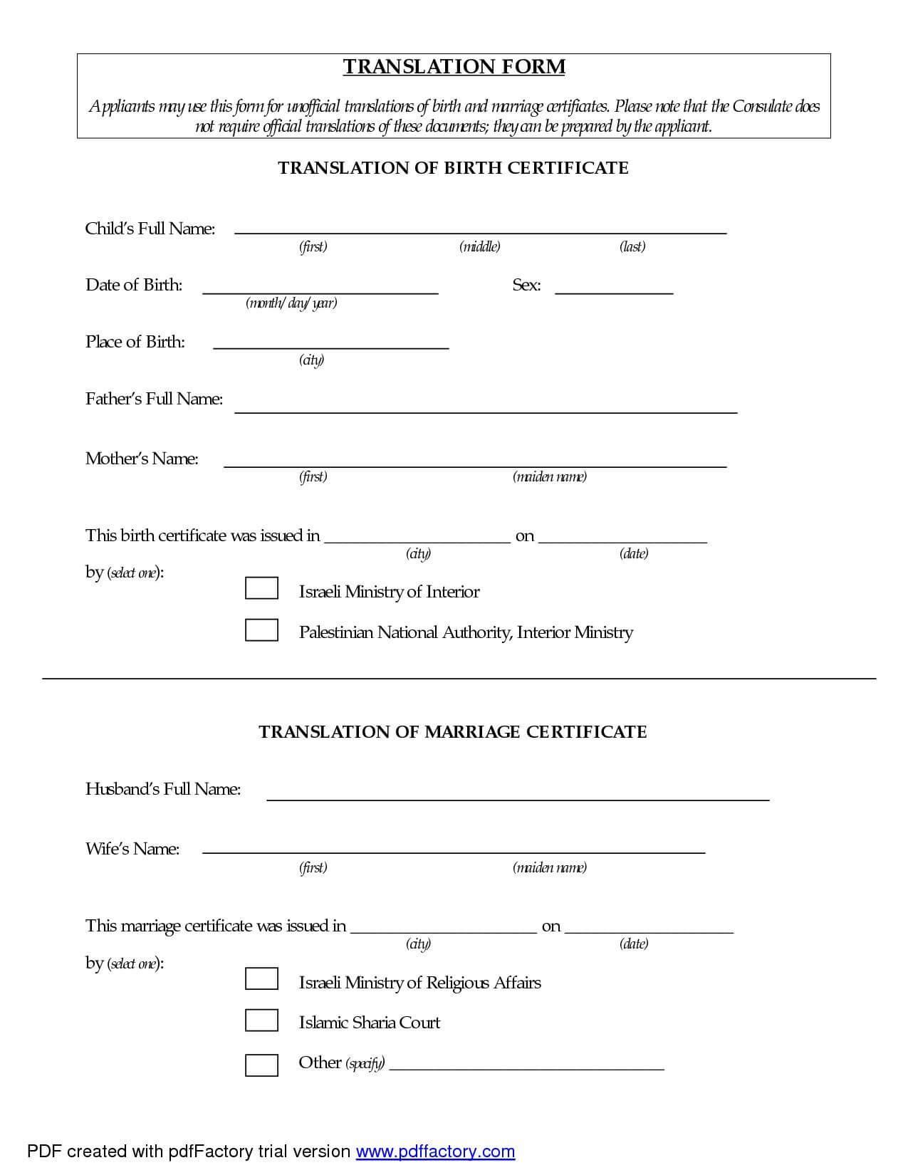 Certificates: Interesting Birth Certificate Translation with Birth Certificate Translation Template Uscis