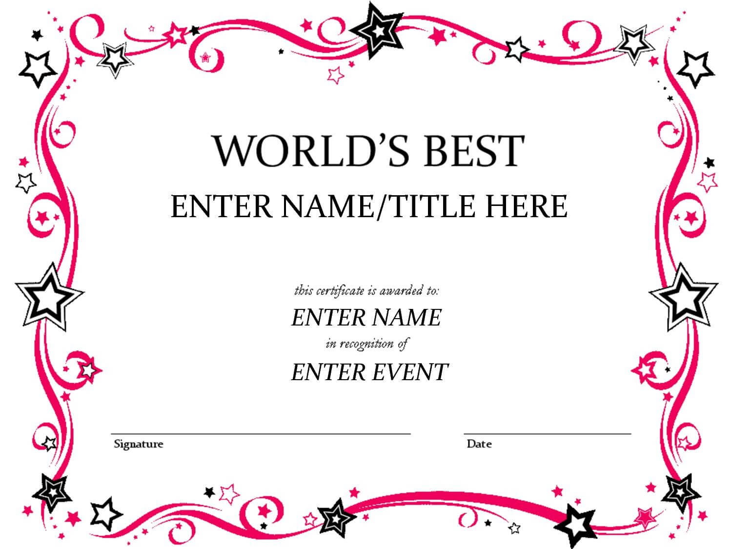 Certificates: Mesmerizing Fun Certificate Templates Example within Free Printable Student Of The Month Certificate Templates