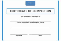 Certificates: New Certificate Of Completion Template Word In Certificate Of Completion Word Template
