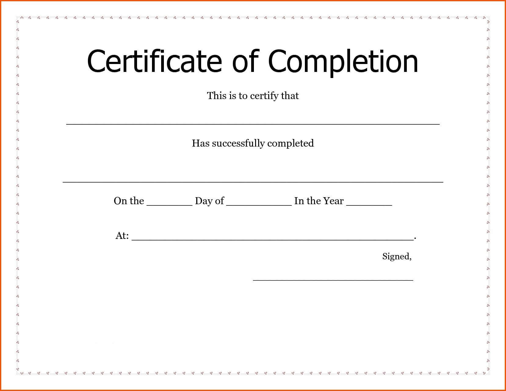 Certificates. New Certificate Of Completion Template Word With Regard To Certificate Of Completion Template Word