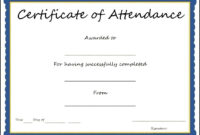 Certificates: Popular Attendance Certificate Template Word pertaining to Attendance Certificate Template Word
