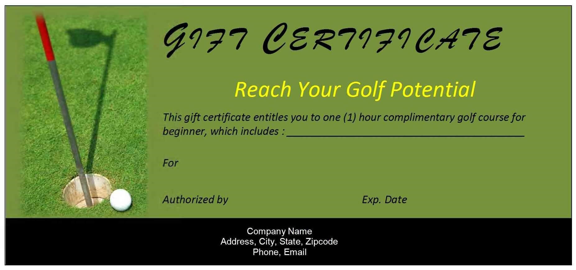 Certificates. Remarkable Golf Gift Certificate Template Regarding Golf Certificate Template Free