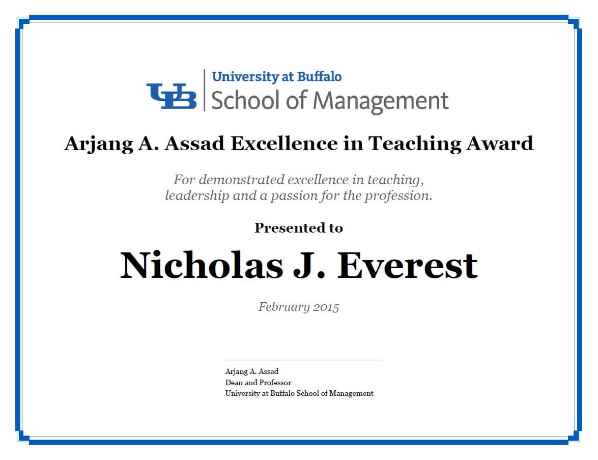 Certificates - School Of Management - University At Buffalo within Leadership Award Certificate Template