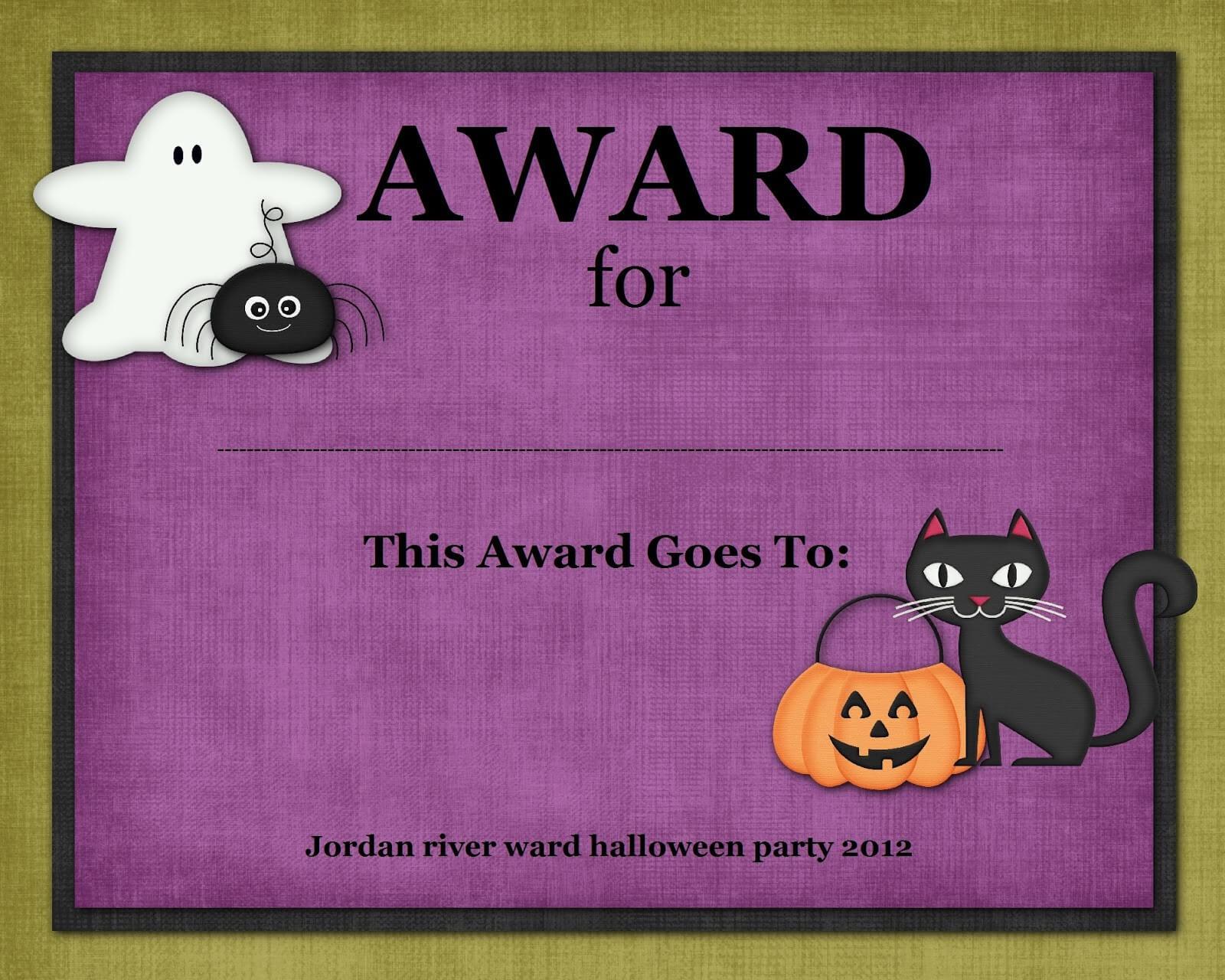 Certificates: Simple Halloween Costume Certificate Template Regarding Halloween Costume Certificate Template