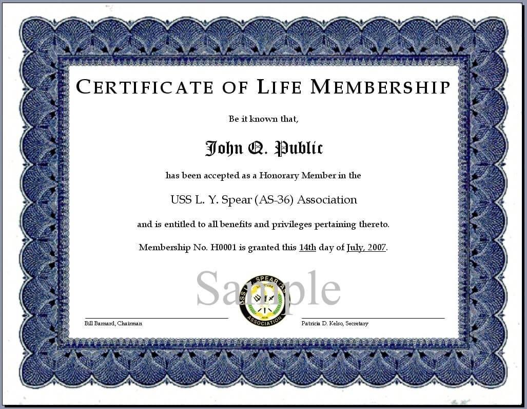 Certificates. Simple Membership Certificate Template Sample For Life Membership Certificate Templates
