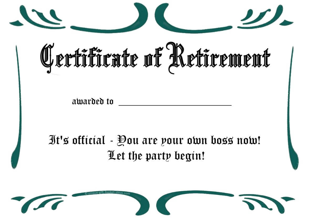 Certificates: Simple Sample Retirement Certificate Template for Free Funny Certificate Templates For Word