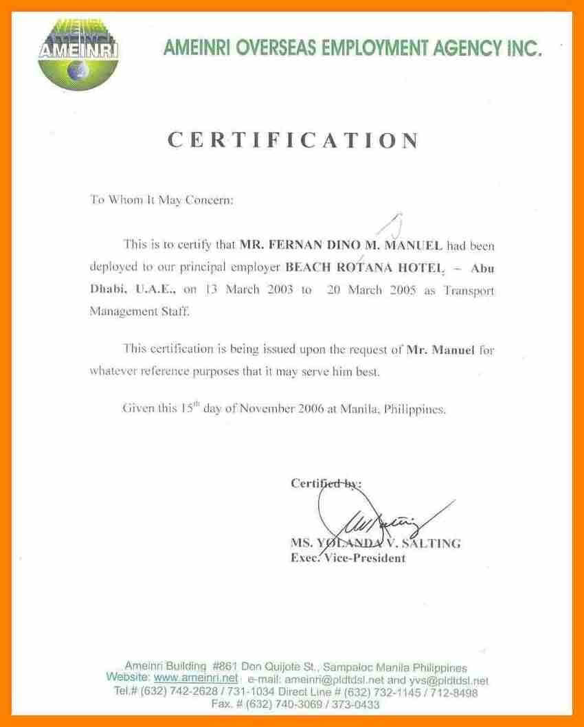 Certificates. Stunning Certificate Of Employment Template Inside Employee Certificate Of Service Template