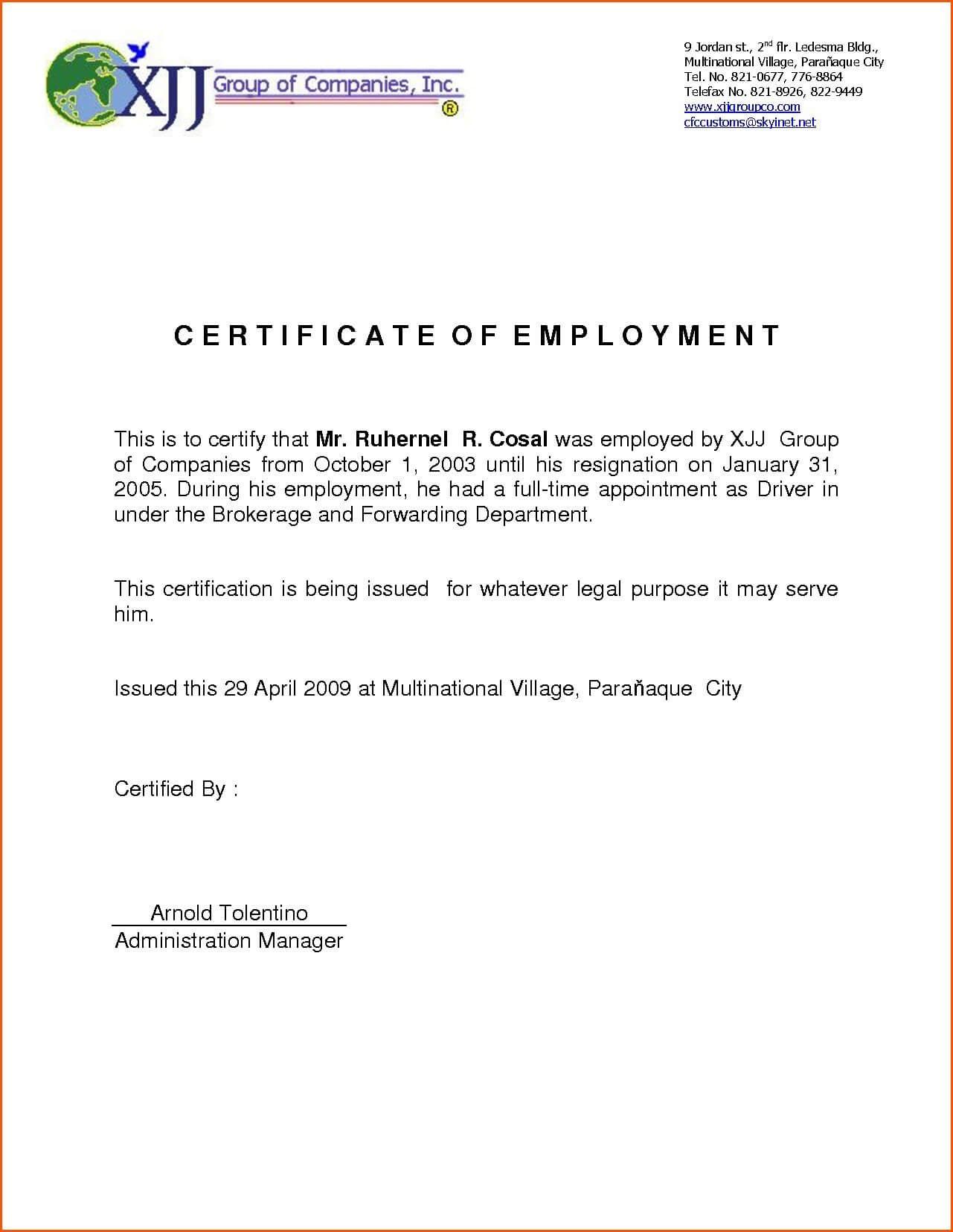 Certificates: Stunning Certificate Of Employment Template Intended For Template Of Certificate Of Employment