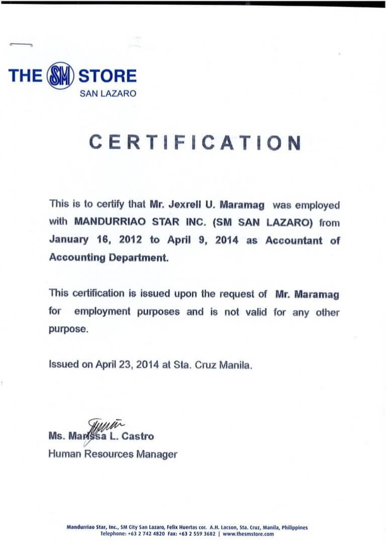Certificates: Stunning Certificate Of Employment Template within Certificate Of Employment Template
