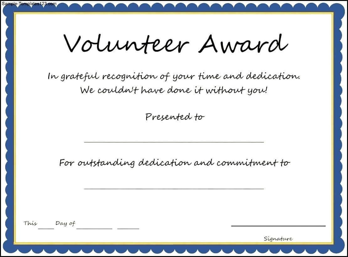 Certificates: Stylish Volunteer Certificate Template Sample throughout Volunteer Certificate Template