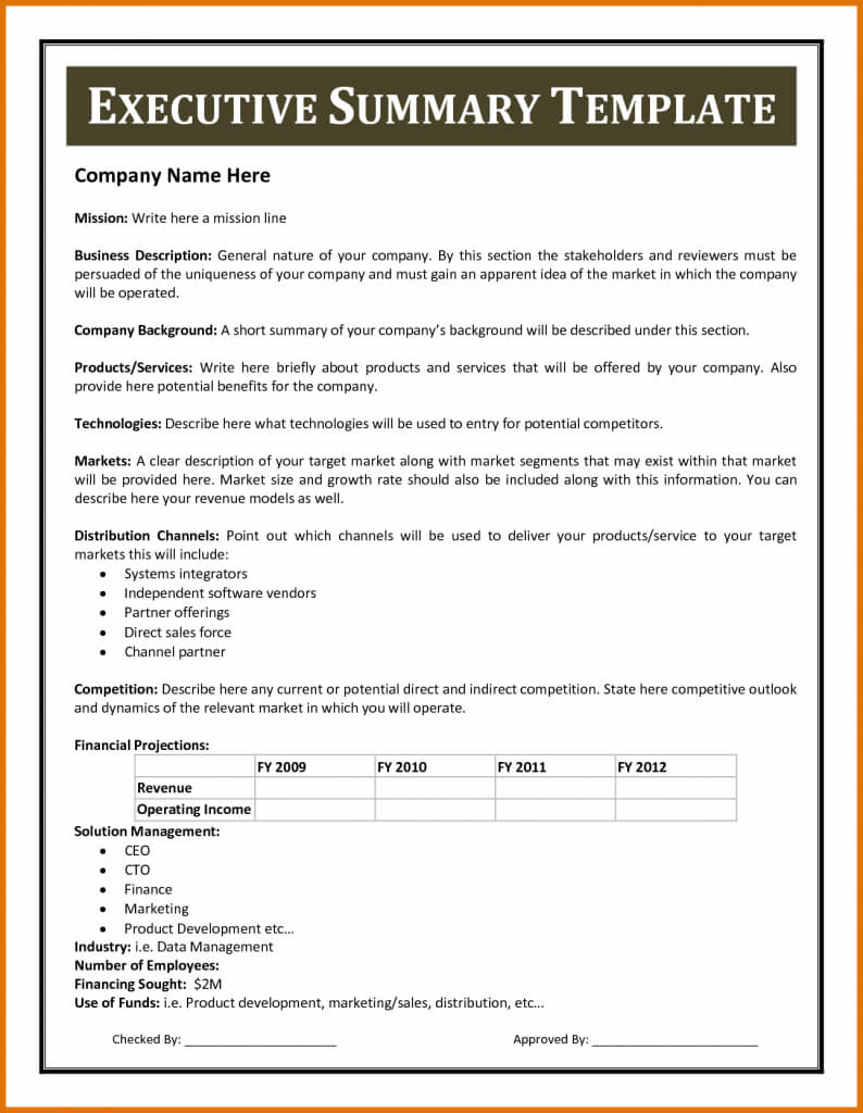 Certificates Templates , Financial Summary Report Template In Executive Summary Report Template
