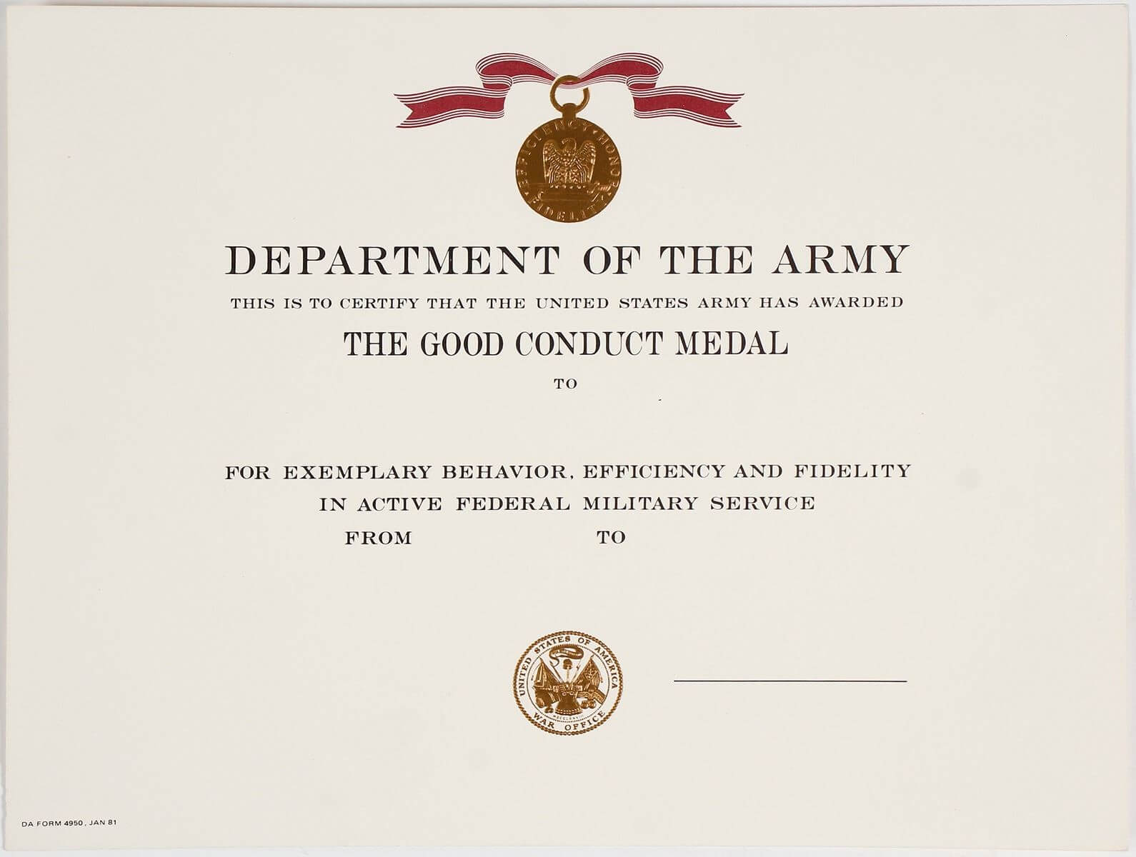 Certificates: Wonderful Good Conduct Certificate Template In Army Good Conduct Medal Certificate Template