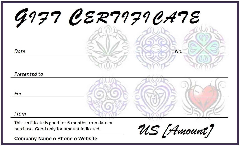 Certificates. Wonderful Tattoo Gift Certificate Template throughout Tattoo Gift Certificate Template