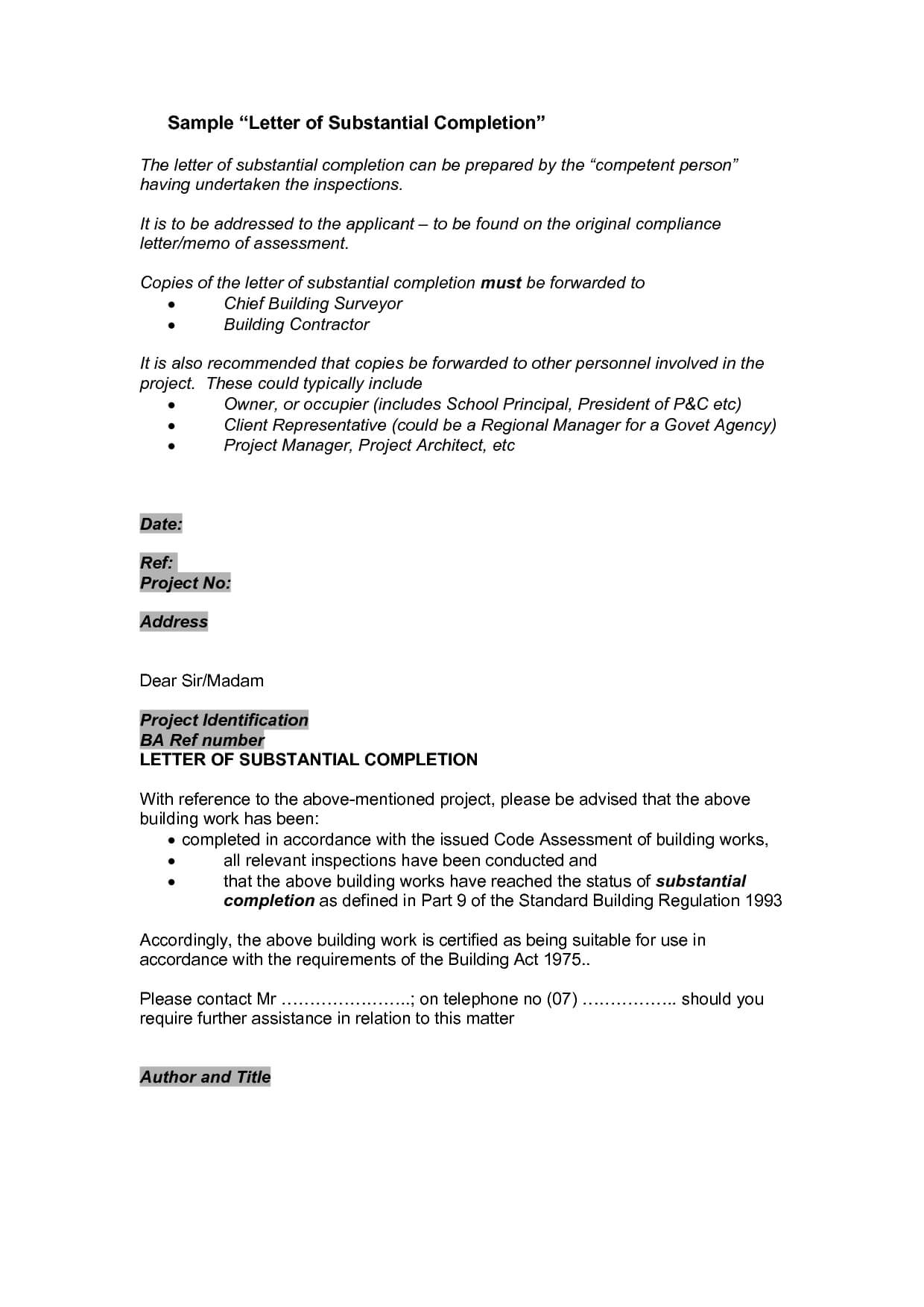 Certification Certificate Completion Construction Letter regarding Certificate Of Substantial Completion Template