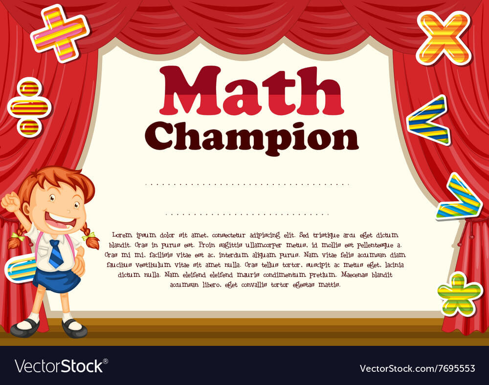Certification With Girl And Math Theme in Math Certificate Template