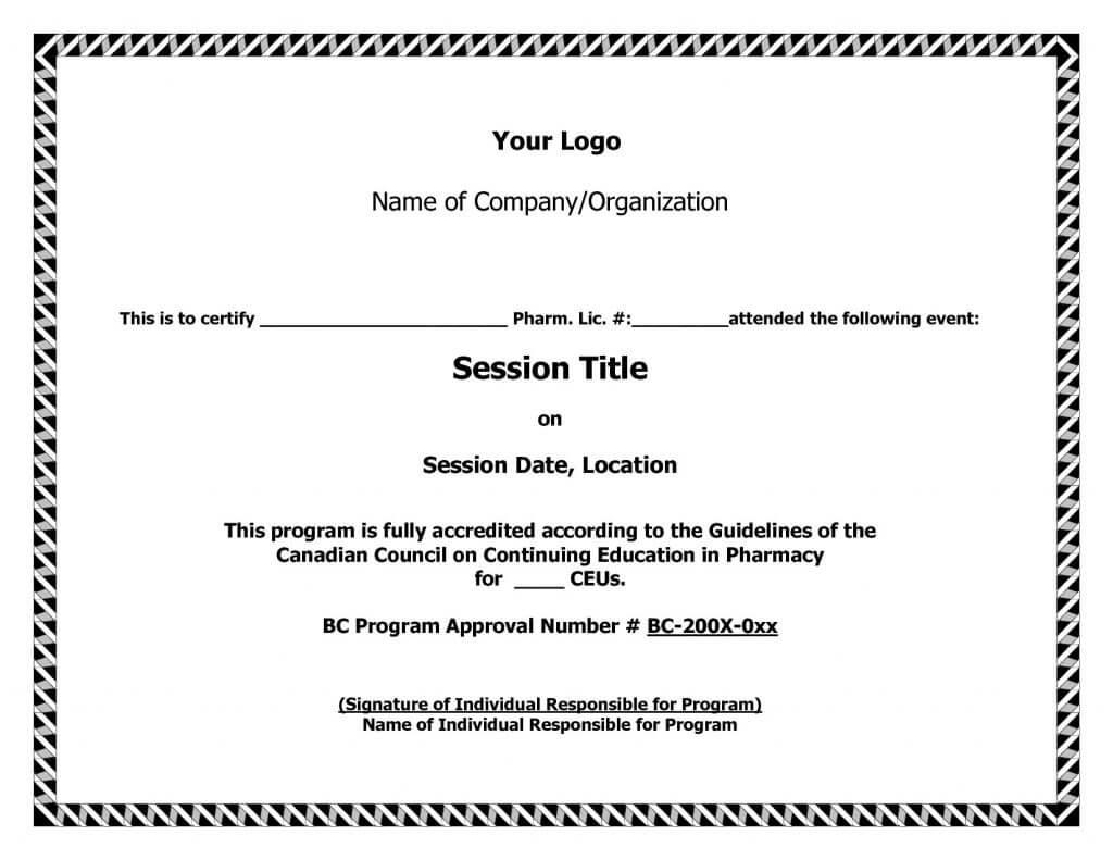 Ceu Certificate Of Completion Template Brochure Templates With Ceu Certificate Template