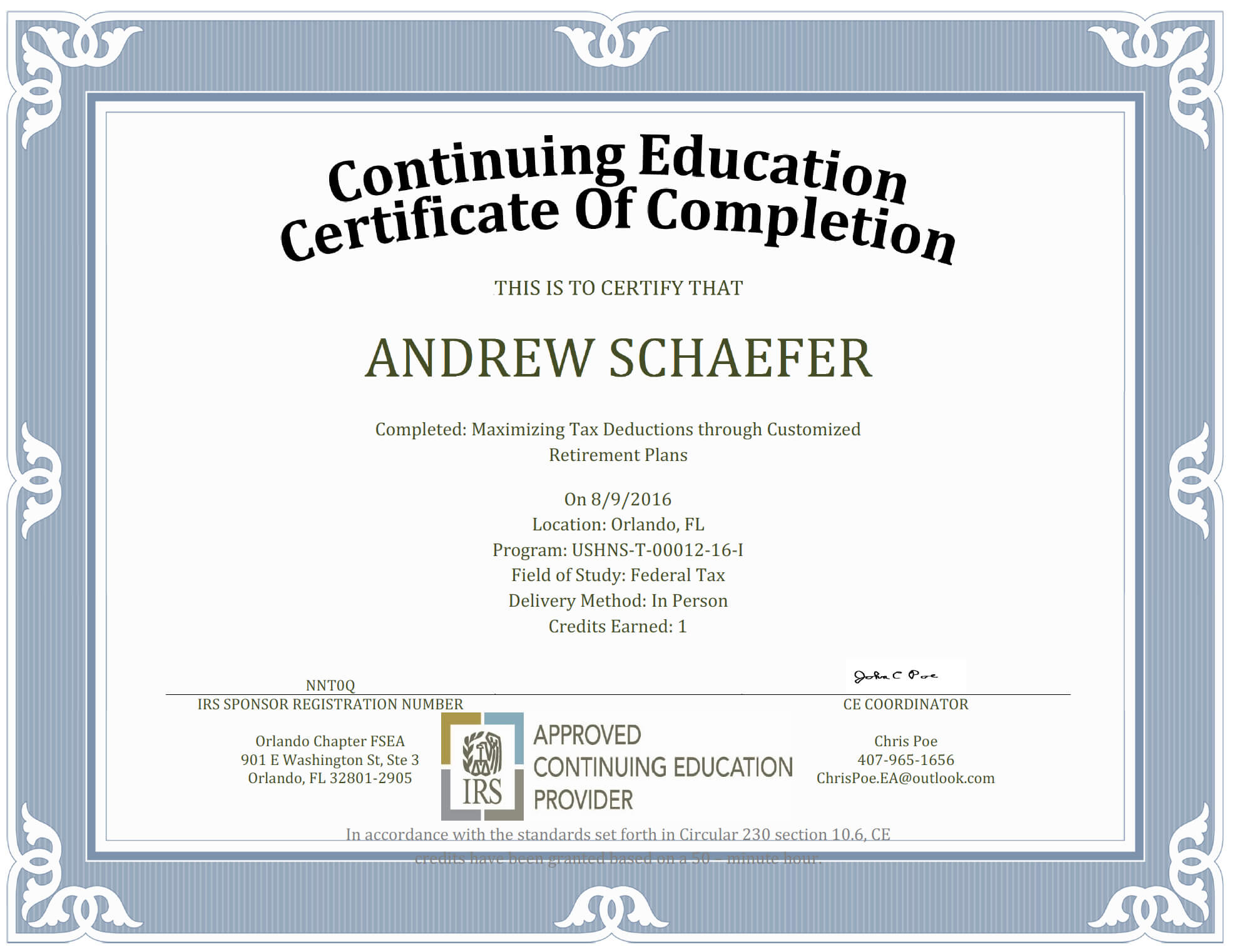 Ceu Certificate Of Completion Template Sample Pertaining To Ceu Certificate Template