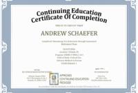 Ceu Certificate Of Completion Template Sample Regarding Continuing Education Certificate Template