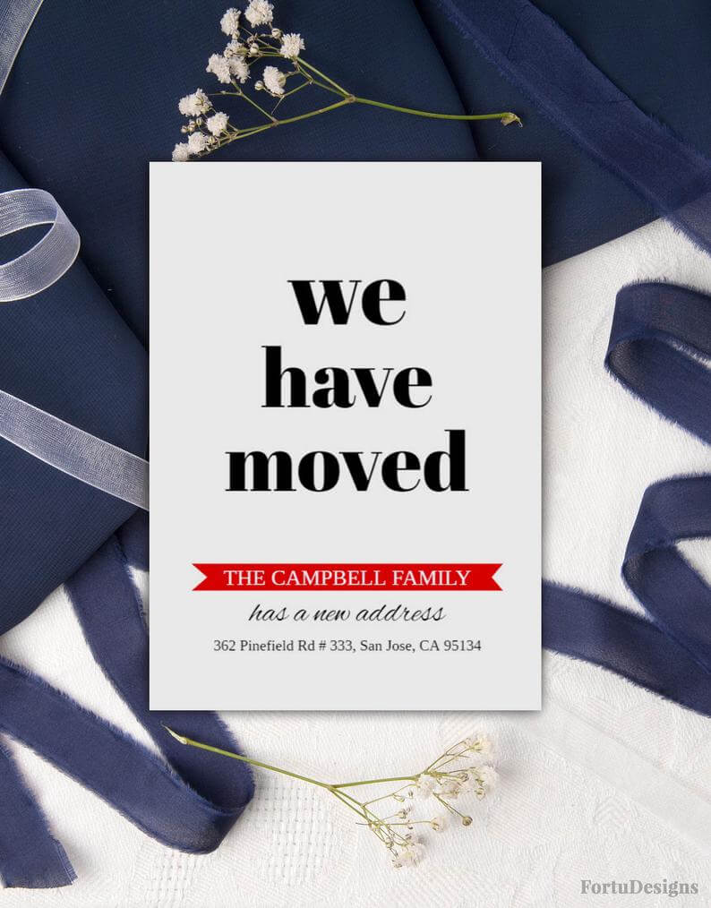 Change Of Address Cards Moving Announcement Download Printable New Address  New Home Card We've Moved Moving Cards Pdf 5X7 regarding Moving Home Cards Template