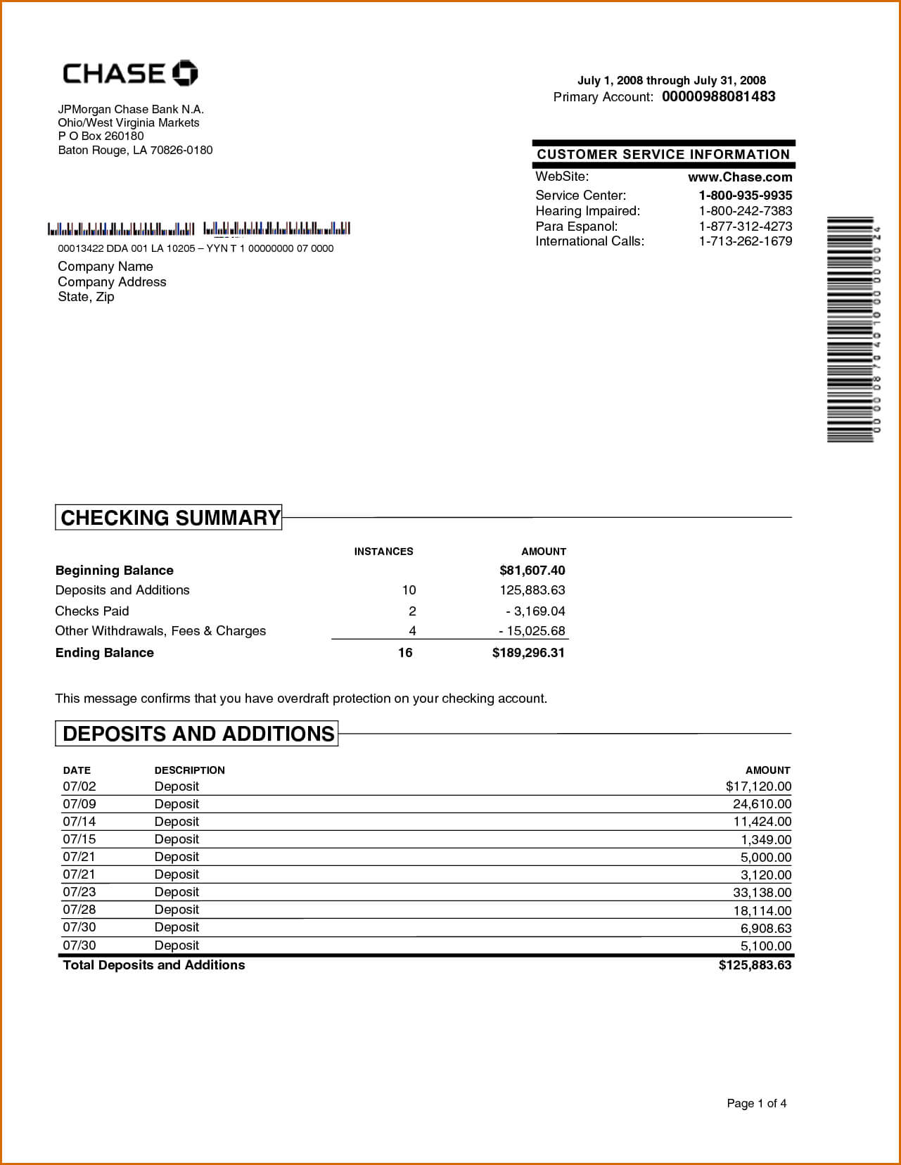 Chase Bank Statement Online Template | Best Template Intended For Credit Card Statement Template Excel
