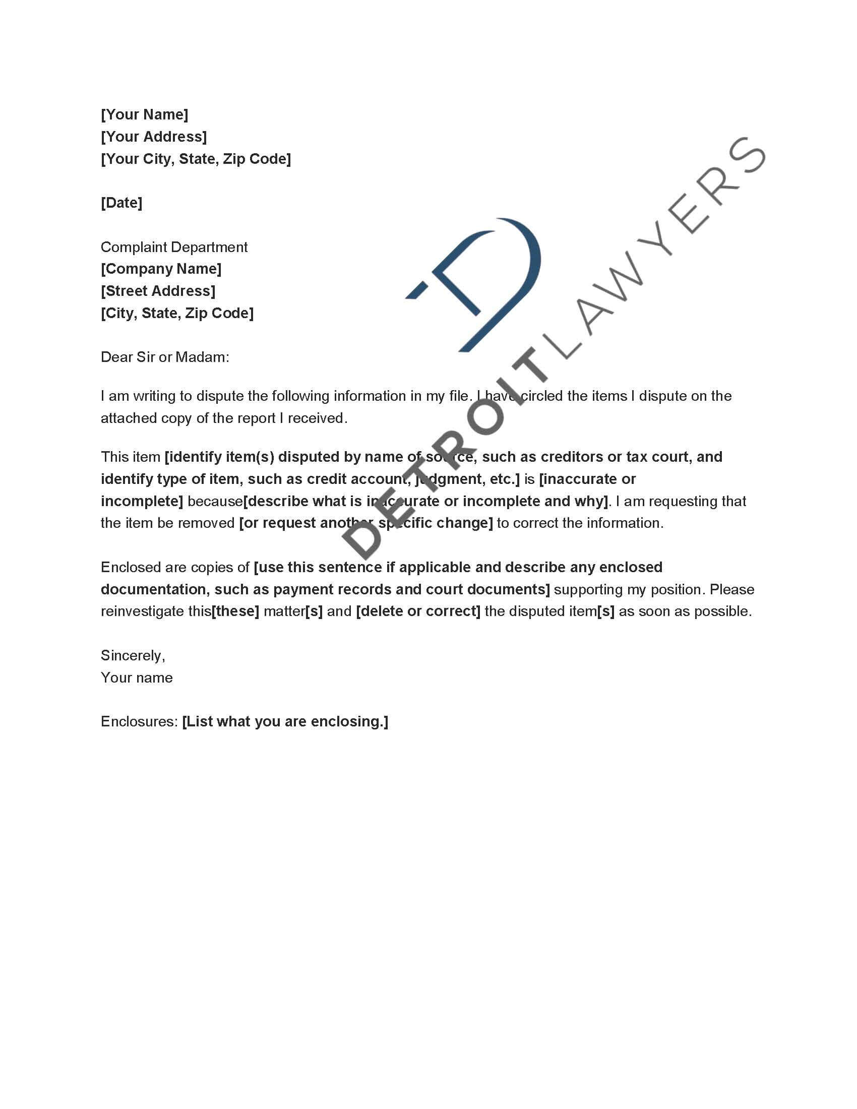 Check The Accuracy Of Your Credit Reports - Detroit Lawyers regarding Credit Report Dispute Letter Template