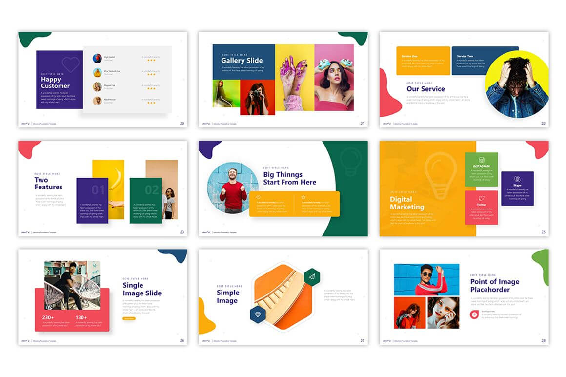 Cheerful - Attractive Powerpoint Template #75495 pertaining to Pretty Powerpoint Templates