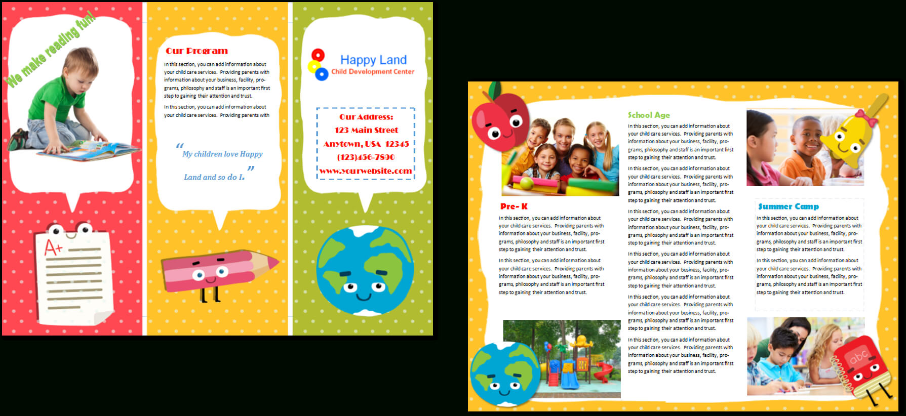 Child Care Brochure Template 22 Throughout Daycare Brochure Template