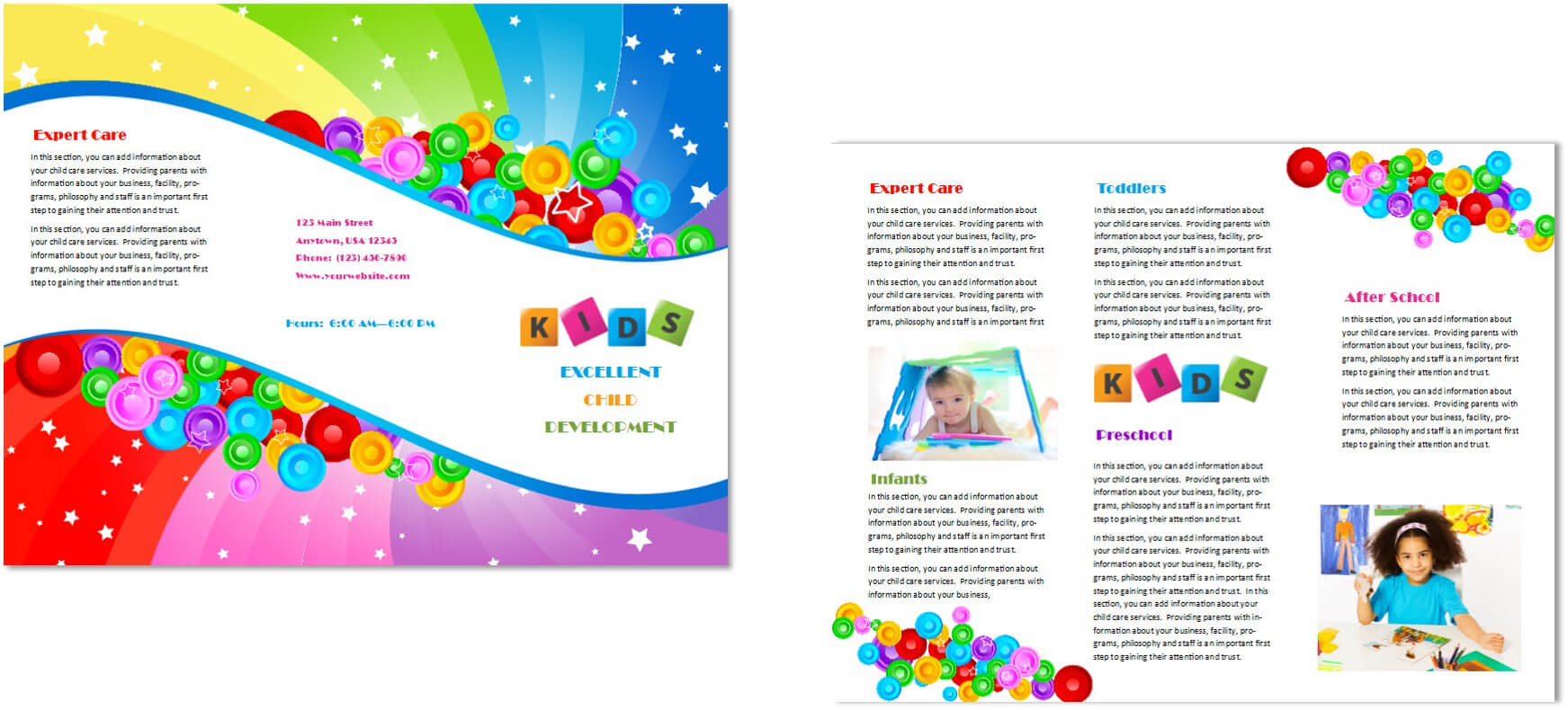 Child Care Brochure Template 7 Inside Daycare Brochure Template
