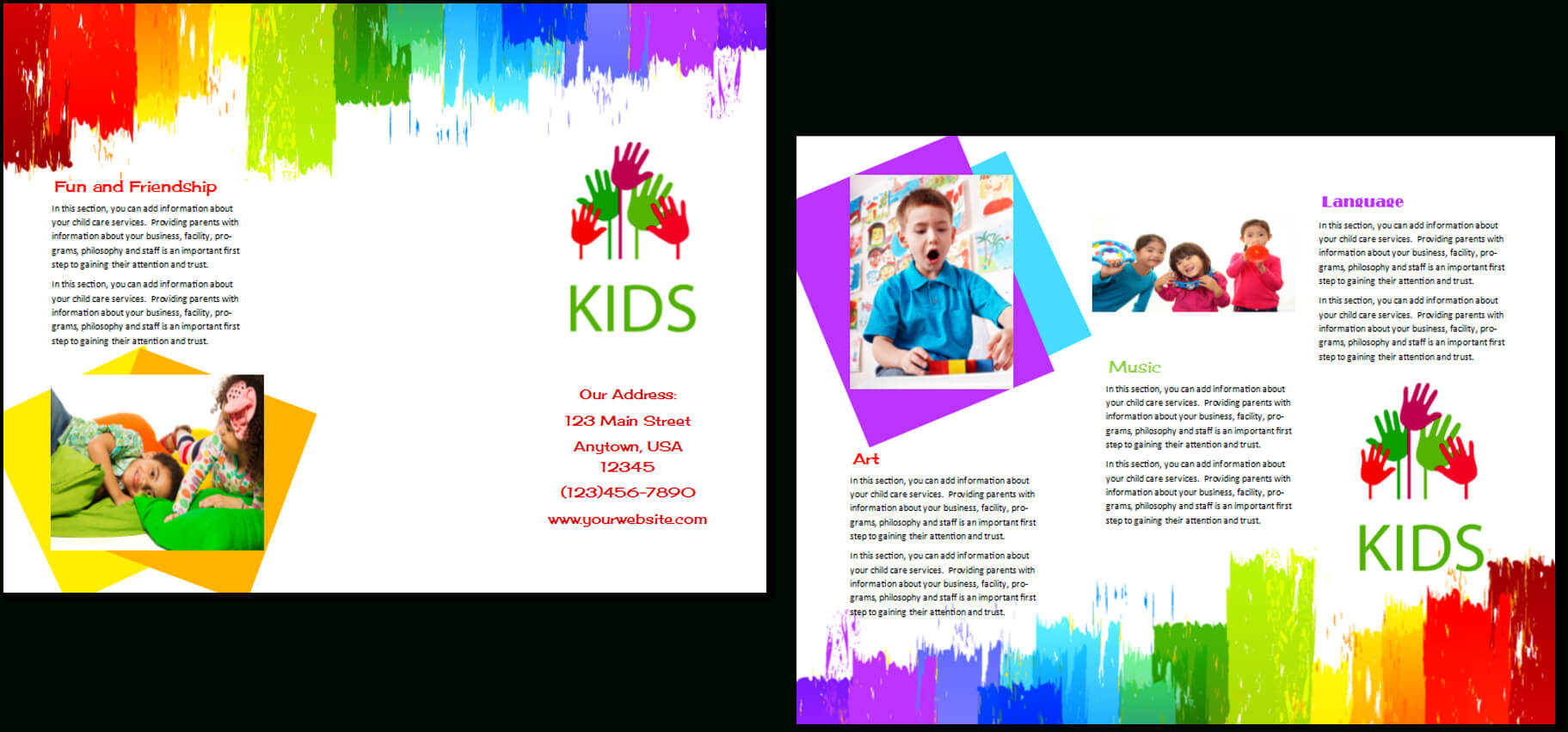 Child Care Brochure Template 9 with regard to Daycare Brochure Template