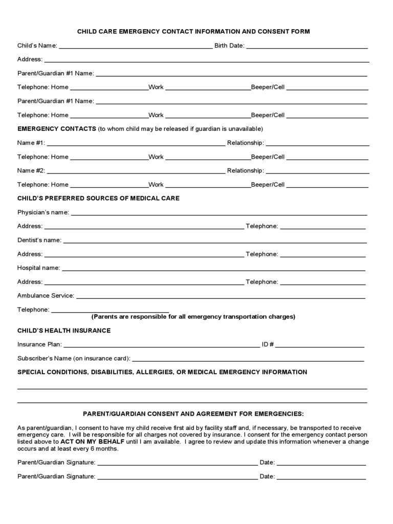 Child Care Emergency Contact Form 2 Free Templates In intended for Emergency Contact Card Template