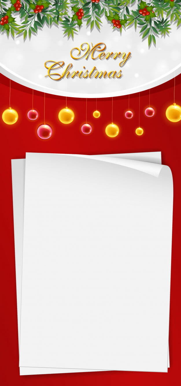 Christmas Card Template With Blank Paper And Mistletoes Eps in Blank Christmas Card Templates Free