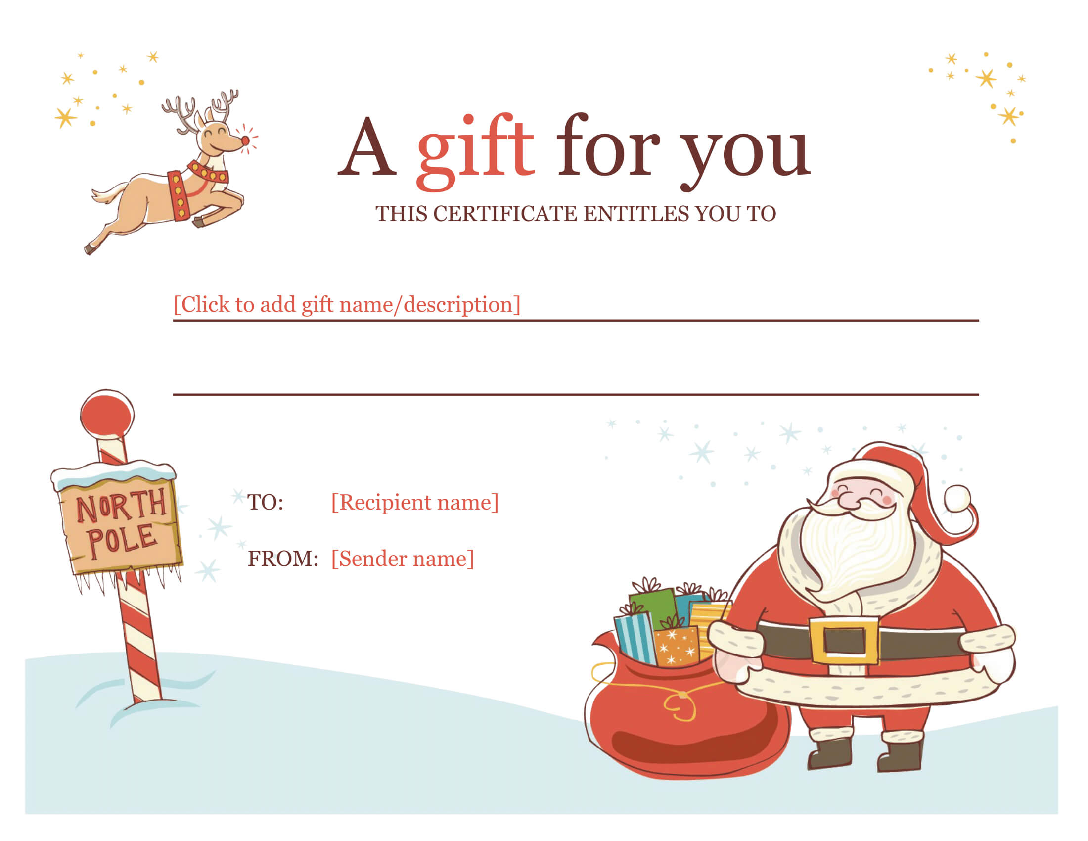 Christmas Gift Certificate - Download A Free Personalized Intended For Christmas Gift Certificate Template Free Download