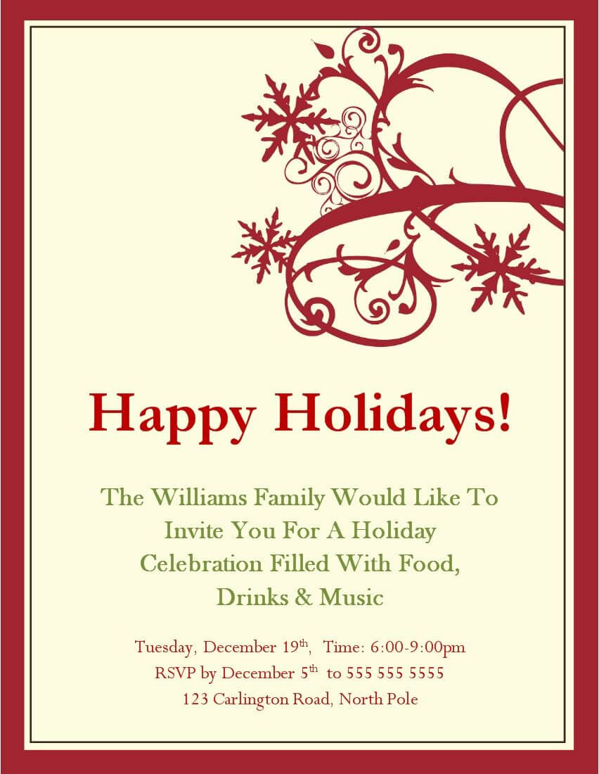 Christmas Party Invitations Templates Microsoft | Christmas inside Free Dinner Invitation Templates For Word