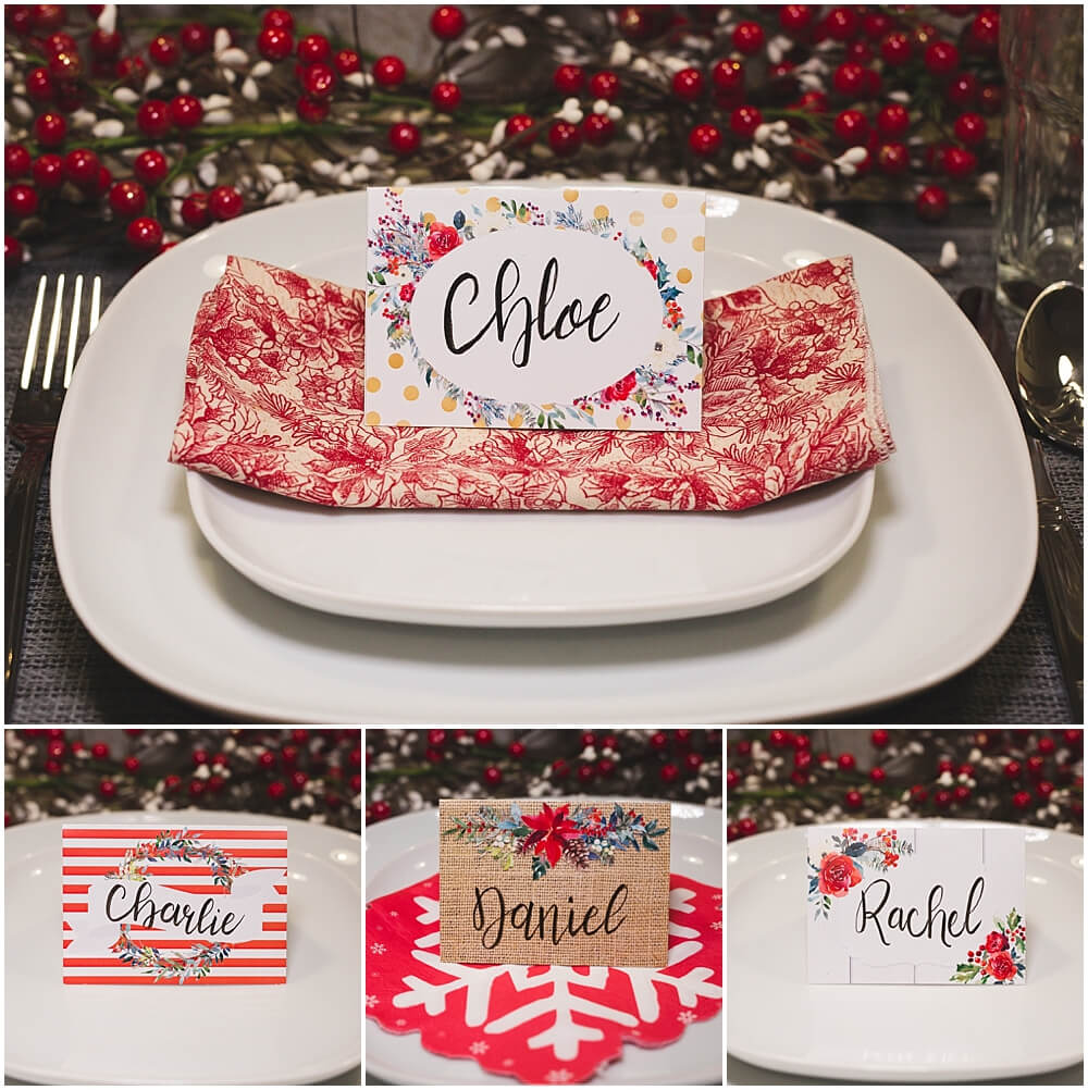 Christmas Table Place Cards { Free Printable} - Six Clever in Christmas Table Place Cards Template