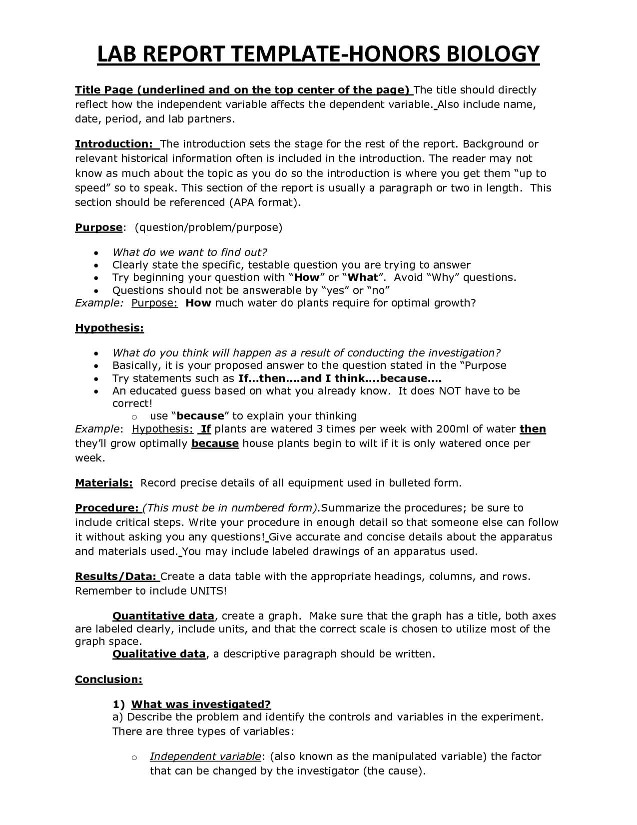 Chs Hbio Lab Report Template | Biology | Lab Report Template For Biology Lab Report Template