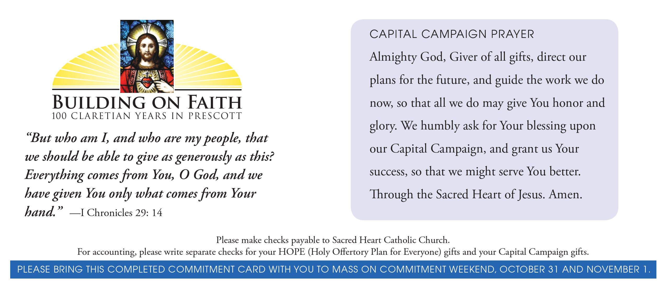 Church Capital Campaign Pledge Card Samples inside Pledge Card Template For Church