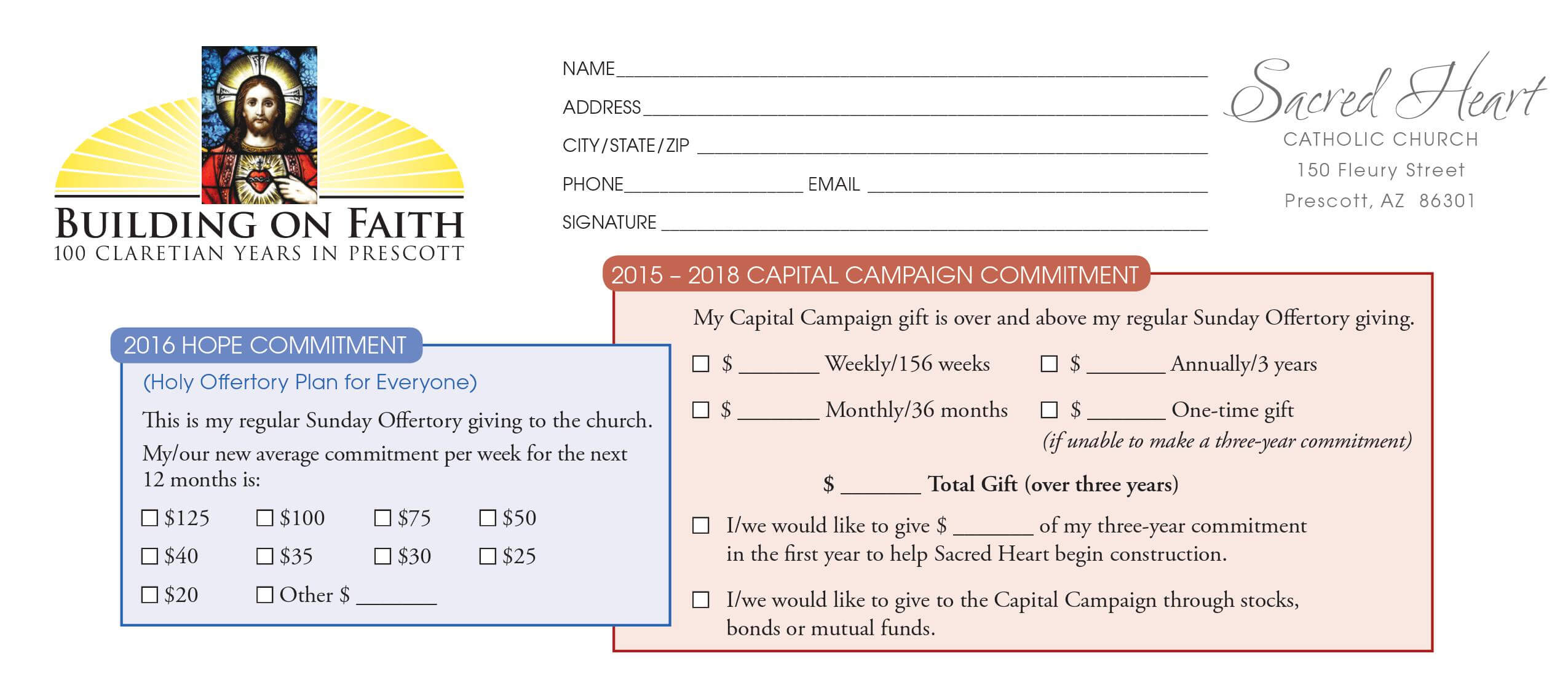 Church Capital Campaign Pledge Card Samples pertaining to Pledge Card Template For Church