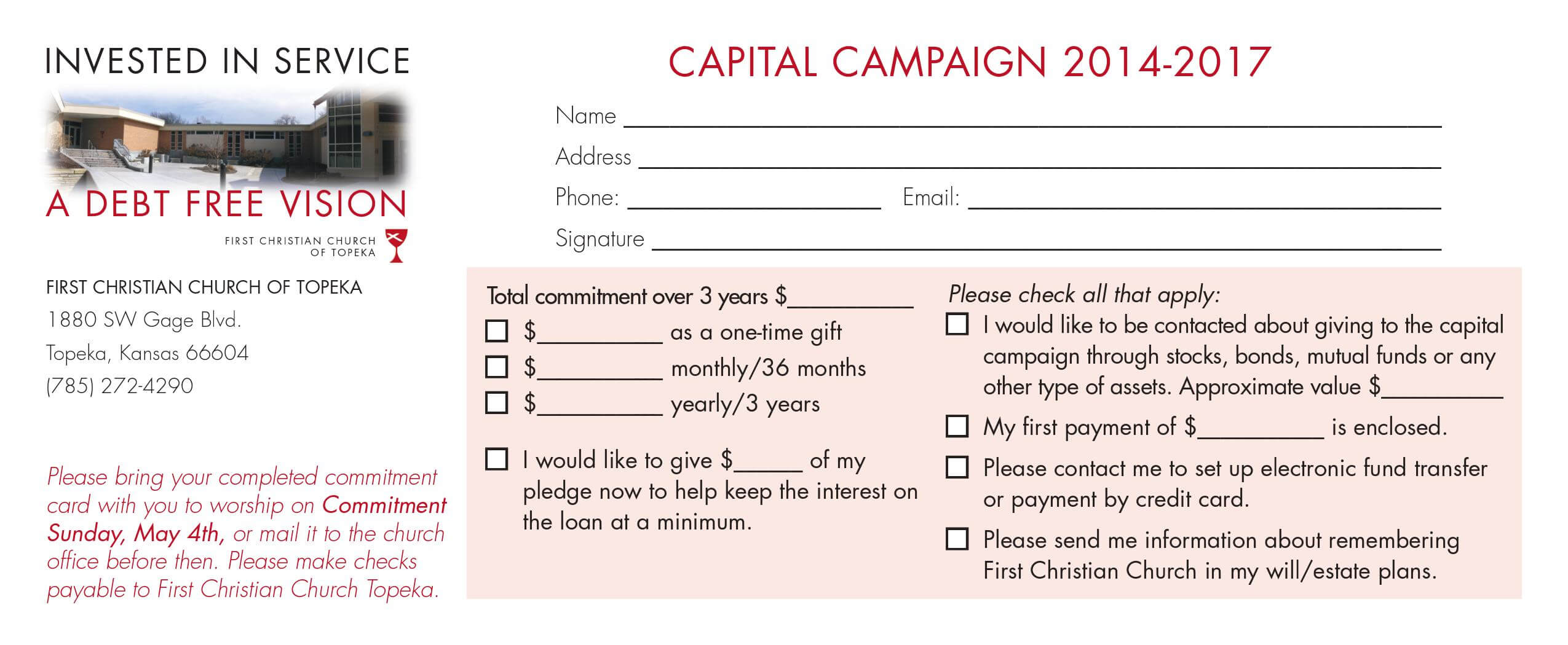 Church Capital Campaign Pledge Card Samples with regard to Church Pledge Card Template