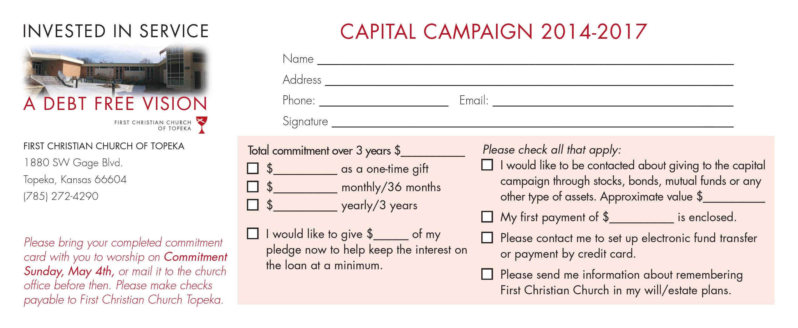 Church Capital Campaign Pledge Card Samples within Pledge Card Template For Church