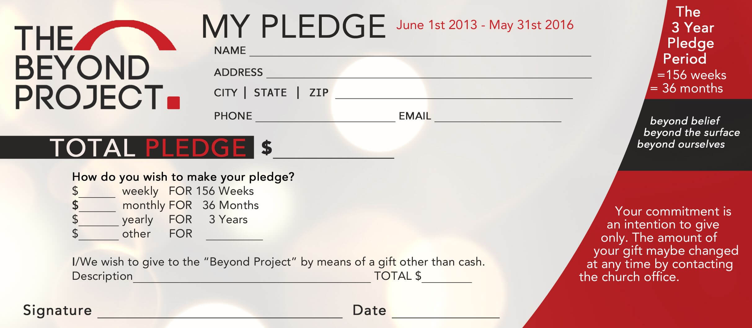 Church Pledge Form Template Hausn3Uc | Church Fundraisers inside Free Pledge Card Template