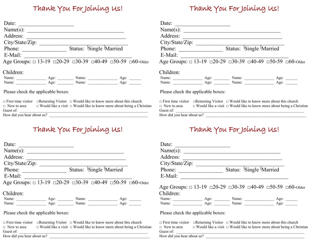 Church Visitor Card Template Within Church Visitor Card Template